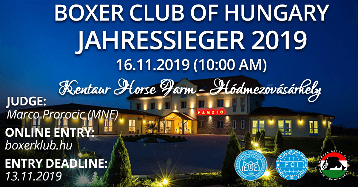 Boxer Club of Hungary - Jahressieger 2019